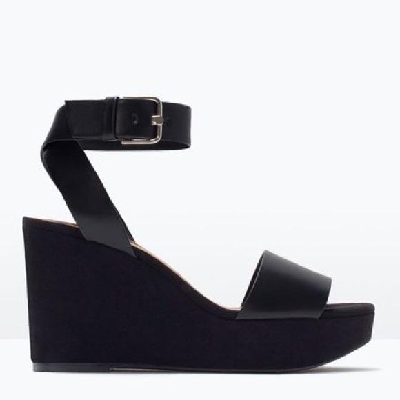 194ec75d62cd Zara vegan suede leather ankle strap wedges